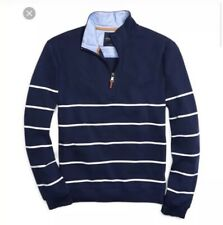 Brooks Brothers 346 Striped Mock Neck Quarter Half 1/2 Zip Sweater Size Large L