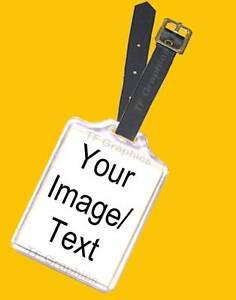 Custom Personalised Acrylic Luggage Tag & Leather Strap - Luggage ID Travel ID