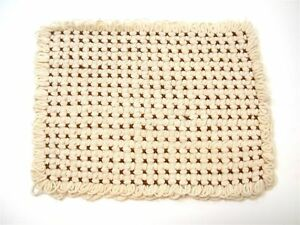 """(6) Hand Loomed Placemats ~ Ivory & Brown ~ 11"""" x 15"""""""