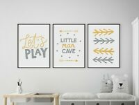 Set of 3 Little Man Cave Arrows Yellow & Grey Prints Nursery Boys Room Wall Art