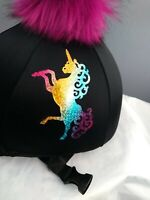 kids riding silks unicorn equestrian hat covers younger horse riders.