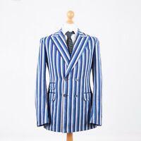 Canali Double Breasted Striped Blue White 48 R 38 Men's Blazer Jacket Kei Cupro