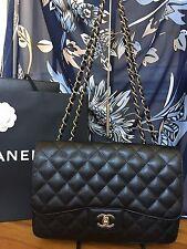CHANEL Black Jumbo Single Flap Caviar Leather Bag with Silver Hardware