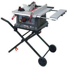 "Craftsman 10"" Portable Table Saw Space Saving Fold Roll Stand 15 Amp Motor Pro"