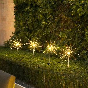 Warm White 90 LED Solar Powered Firework Starburst Fairy Garden Light Outdoor