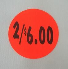 """1000 Self-Adhesive 2/$6.00 Labels 1 3/8"""" Stickers / Tags Retail Store Supplies"""