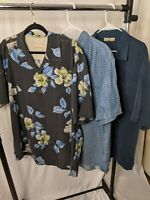 LOT of 3 Tommy Bahama Mens (XL) Short Sleeve Button Up Camp Shirts Silk