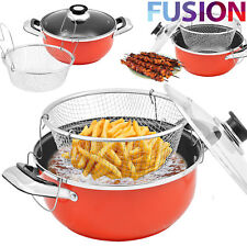 Non Stick Chip Pan Set Fryer Deep Fat Frying Basket Pot With Glass Lid 24 Cm