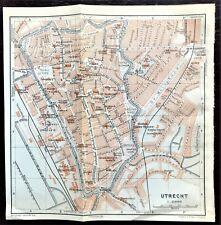 1910 ANTIQUE COLOR MAP - UTRECHT, NETHERLANDS - Street Detail - 100% AUTHENTIC