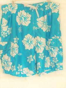 OP men's swim trunks board shorts 4-pocket aqua blue floral 36-38 Large