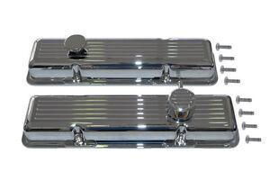 SB Chevy Billet valve Cover Set Chromed Breather cap Oil cap Bolts Include G8003