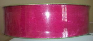 1 1/2 inch Fushsia - Hot Pink wired  ribbon Weddings, crafts, Easter, wreath