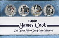 2009 Captain James Cook Silver Proof Coin Collection 4 X Silver 1oz $1 Coins