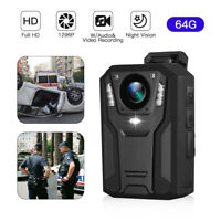 BOBLOV HD 1296P Body Worn Camera 64GB Police DVR Video Recorder IR Night Vision