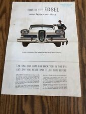 """1958 """"This is the Edsel, Never Before a Car Like It"""" Dealership Brochure Ford"""