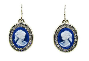 Blue Oval Cameo Earrings in a Clear Crystal Setting - New