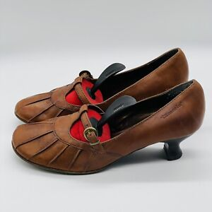 Tamaris Ladies Shoes Tan Brown Leather 5 EU38 pleated Mary Jane kitten heel VGC
