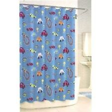 BAMBINI by KASSATEX RACE TRACK FABRIC SHOWER CURTAIN - BLUE