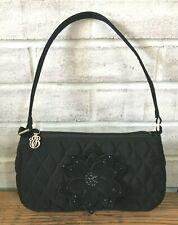 Vera Bradley CLASSIC BLACK Quilted Gigi Baguette Demi Bag Purse w/ Flower Accent