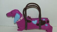 Baby Gap small purple felt puppy dog purse child's girls mini hand bag hearts