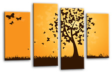 Floral Wall Art Orange Grey Black Butterfly Tree 4 Panel Canvas Abstract Picture