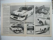 CHRYSLER MITSUBISHI SIGMA TURBO BATMOBILE SHOW CAR 2 PAGE MAGAZINE ARTICLE