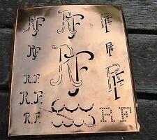 """Monogramm """" RF """" Wäschemonogramm Wäscheschablone Wäschezeichen 11/13 cm KUPFER"""