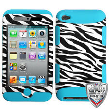 Apple iPod Touch 4 4th Gen Rubber IMPACT TUFF HYBRID Case Skin Cover Zebra Teal