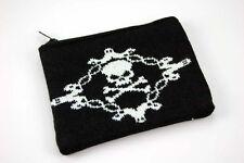 Knitted SKULL & BONES PURSE  Brand New Coin Purse  Gothic Goth Vamp 13cm x 10cm