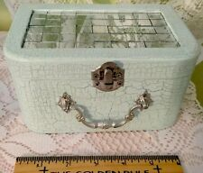 Handpainted, MIRRORED Wooden Trinket Box Crackle Finish, ICE BLUE
