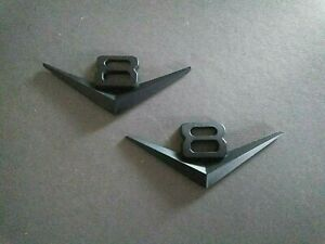2 (Two) x Satin Black V8 badges 115 x 45mm  zinc alloy metal Holden Ford Jeep