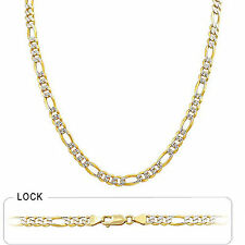 "5.7mm 24"" 33gm 14k Gold Two Tone White Pave Men's Figaro Chain Polished Necklace"