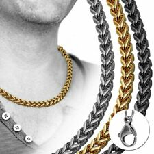 Conjunto De Collar Y Pulsera Enlace Cadena De Borde Plata Oro Negro Hombre Acero