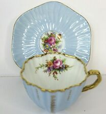 EB Foley Vintage Bone China Tea Cup and Saucer Blue and Gold Trim Floral England