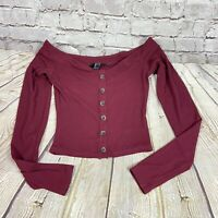 Forever 21 Women's Crop Top Burgundy Maroon Buttons Long Sleeve S Off Shoulders