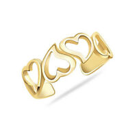 Open Love Heart 14k Yellow Gold Over Adjustable Toe Ring For Women's