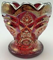 Vintage Imperial Carnival Glass Toothpick Holder Fashion Orange Red Iridescent