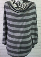 WHITE HOUSE BLACK MARKET size L GRAY Stripped PONCHO Sleeve TOP Pullover Shirt