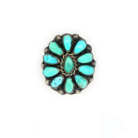 Vintage 1950s Navajo Sterling Silver Turquoise Petit Point Ring - Sz. 4¾