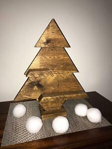 Handmade rustic pine wooden christmas tree with shelves
