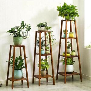 77/97/117cm Tall Bamboo Plant Stand Flower Pot Display Rack Shelf Indoor Outdoor