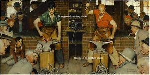 Art print+hand paint American art oil paintings Norman Rockwell BLACKSMITH'S BOY