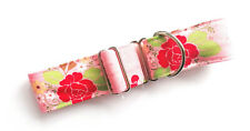 """1.5"""" HOUSE Dog Collar PINK ROSES Single Loop Greyhound Whippet Lurcher"""