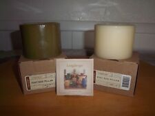 Longaberger 2 Pint Size Pillar Candles Very Fragrant Vanilla & Sage Sandalwood!