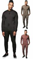 New Mens Distressed Ripped Plain Hooded Sweatshirt Bottom Loungewear Tracksuit