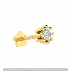 Real Solitaire Diamond Lip Labret Monroe Piercing Screw Nose Pin Stud 14k Gold