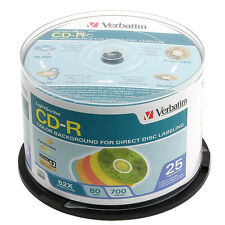 Verbatim LightScribe CD-R 52x (Color) Recordable Discs, 25-Disc