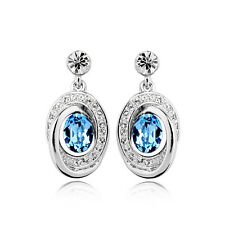 GORGEOUS 18K WHITE GOLD PLATED TURQUOISE CZ & AUSTRIAN CRYSTAL DANGLE  EARRINGS