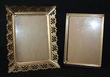 2 Vintage Metal Ornate Metal Picture Frames Gold Tone Easel Back