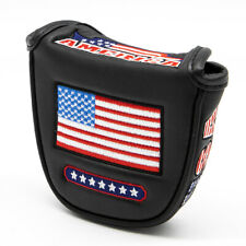 American Flag Mallet Putter Cover Golf Headcover Magnetic for Odyssey Ping Cobra